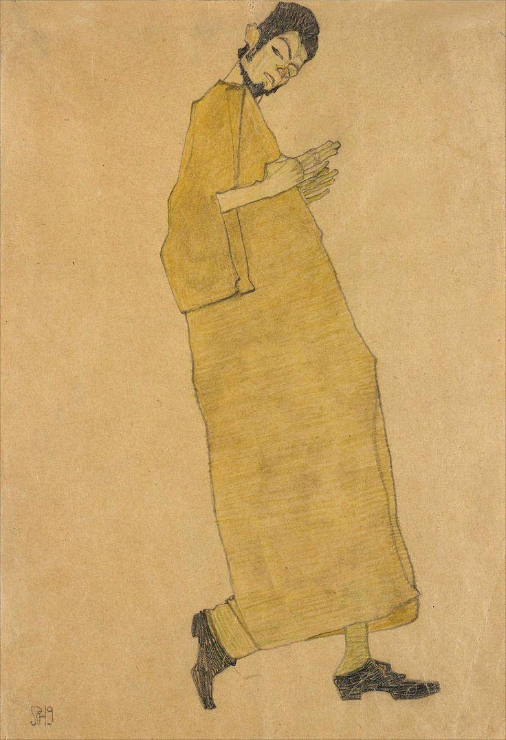 Egon Schiele  ·  Autoritratto  ·  1909  ·  Ubicazione ignota