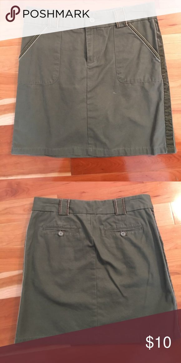 Army Green Skirt with Velvet Detail Old navy army green skirt with velvet detailing, and pockets. Like new. Old Navy Skirts