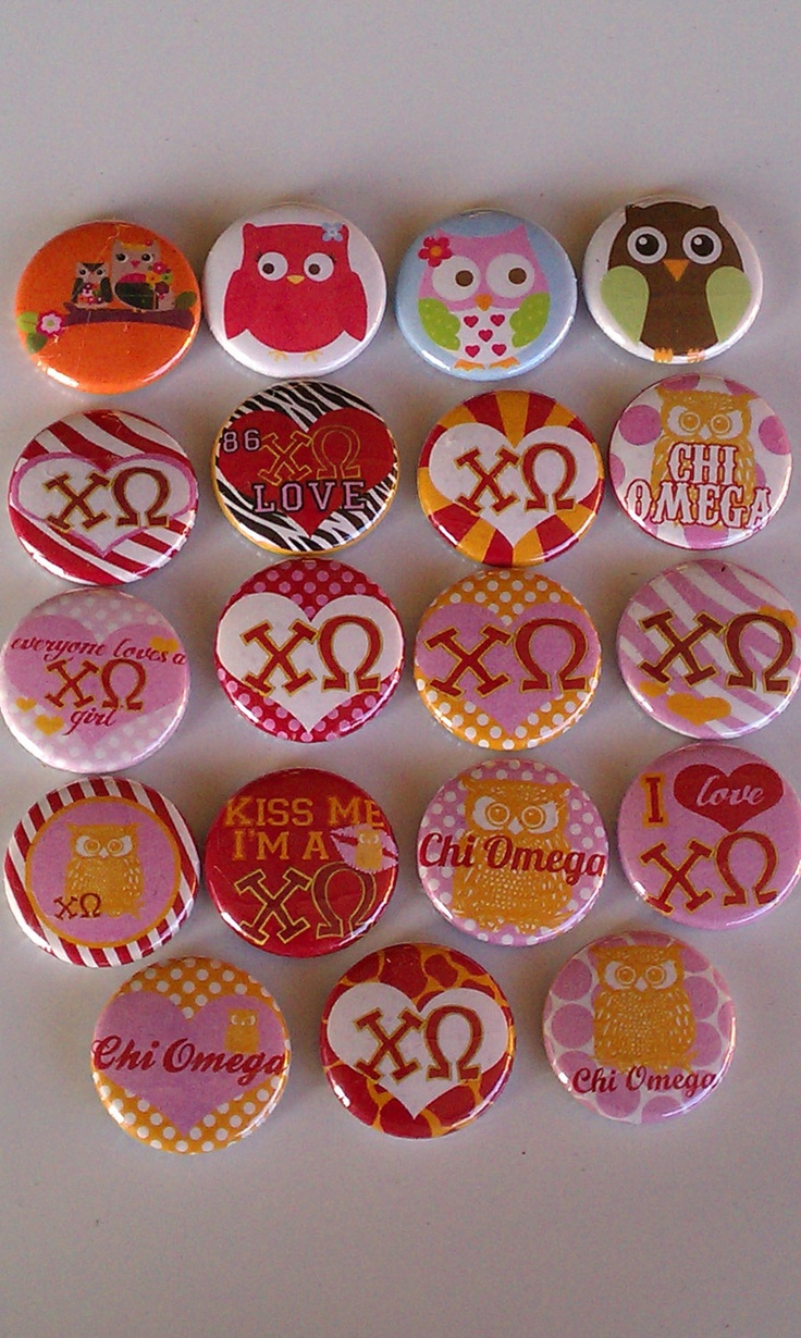 19 Chi Omega and Owl Magnets - Perfect for any Greek Sorority - Think Recruitment, Little & Big Sis