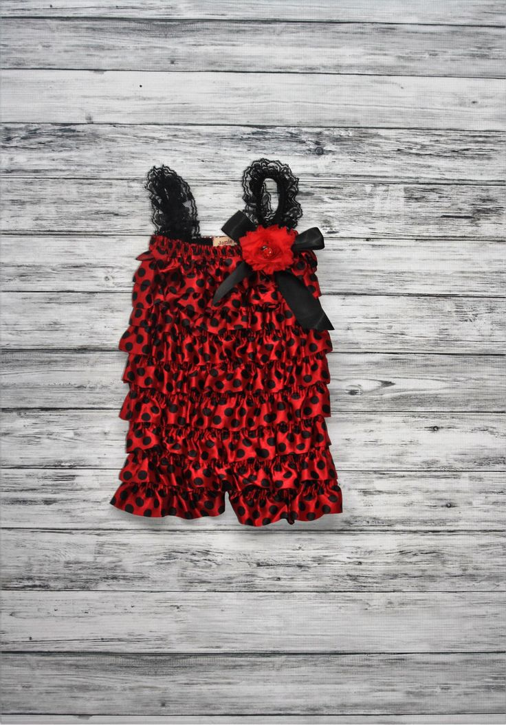 Ladybug Petti Romper- Red and Black Petti Romper- Disney Romper-Polka Dot Romper-1st Birthday Romper-Photo Prop by jamiepowell on Etsy https://www.etsy.com/listing/208243353/ladybug-petti-romper-red-and-black-petti