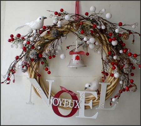 For christmas 2012 pretty red and white wreath diy for Alphabet christmas wreath