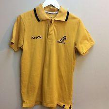 Men's Kooga Wallabies Rugby Polo Shirt Yellow Gold Australia Kangaroo Size Small