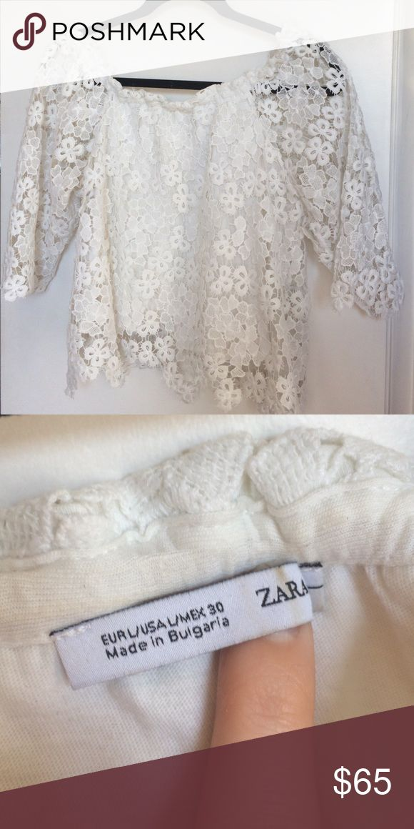 Zara Basic Off Shoulder White Lace top Discoloration on inner neckline. Bought in Zara Madrid. Near Crop length Zara Tops Blouses