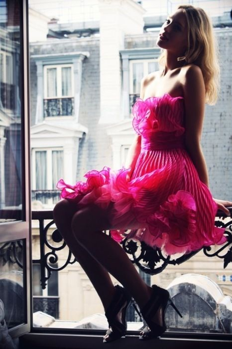 Style is Style: Hotpink, Pink Dresses, Dresses Pants, Window, Dresses Up, Fashion Models, Hot Pink, Bright Colors, Ruffles