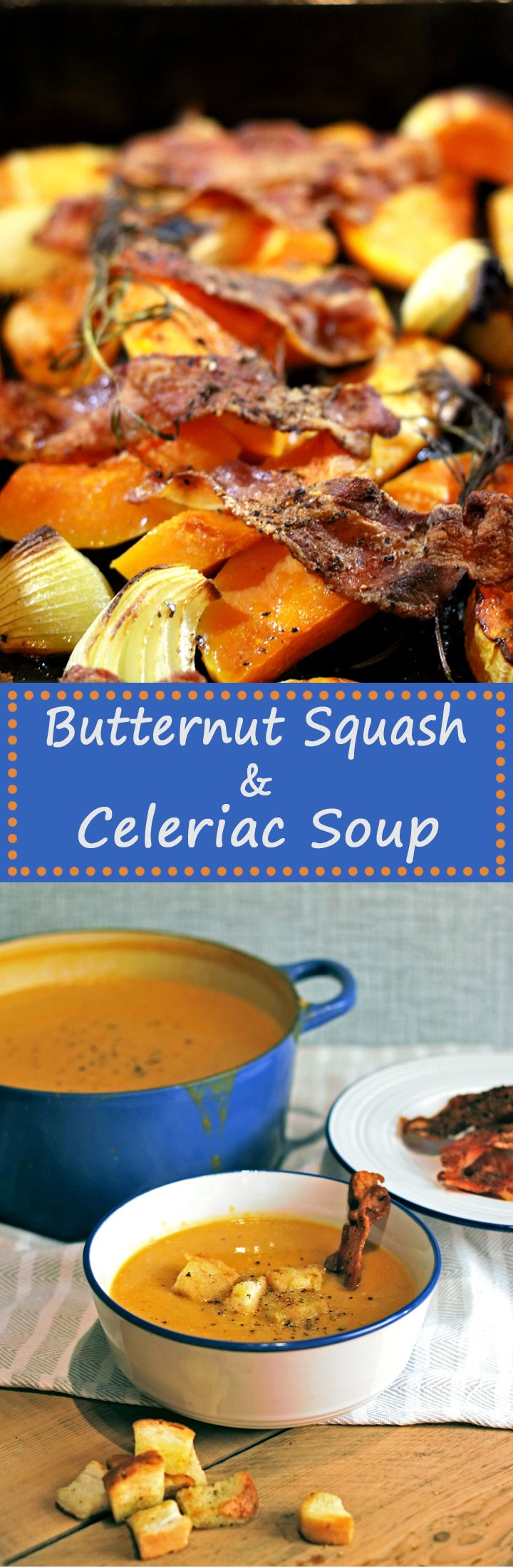 The best soup ever! This Soup recipe sees butternut squash and celeriac together with smokey bacon, and onions. So good! Perfect for Autumn or Fall!