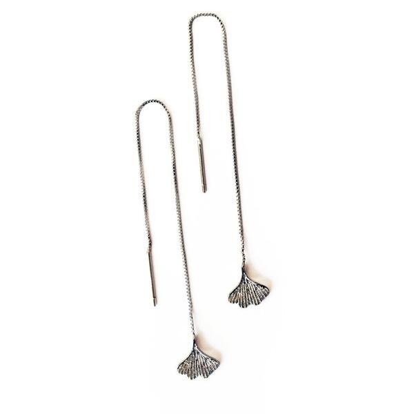Ginkgo Leaf Ginkgo Earrings Boho Jewel Gypsy Jewelry Brass Earrings with Semi-Precious Stones Black Onyx