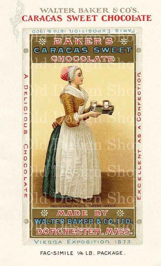 Walter Baker Co Caracas chocolat sucré 1908 par TheOldDesignShop, 3,00 $