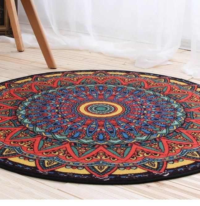Ethnic Style Nylon Carpet, Round Floor Carpet and Rugs for Living Room, Dining Room, Bedroom
