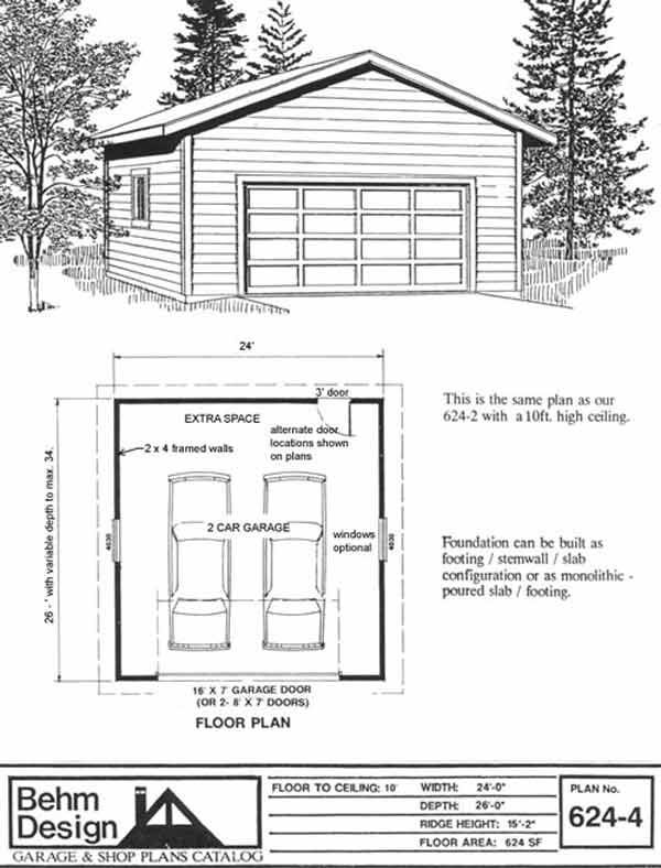 2 car garage plan 624 4 with 10 ft high walls garage