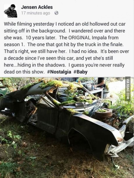 HA NEVER REALLY DEAD SO TRUE IT'S SUPERNATURAL GUYS EVEN THE CARS COME BACK FROM WHEREVER THEY ARE