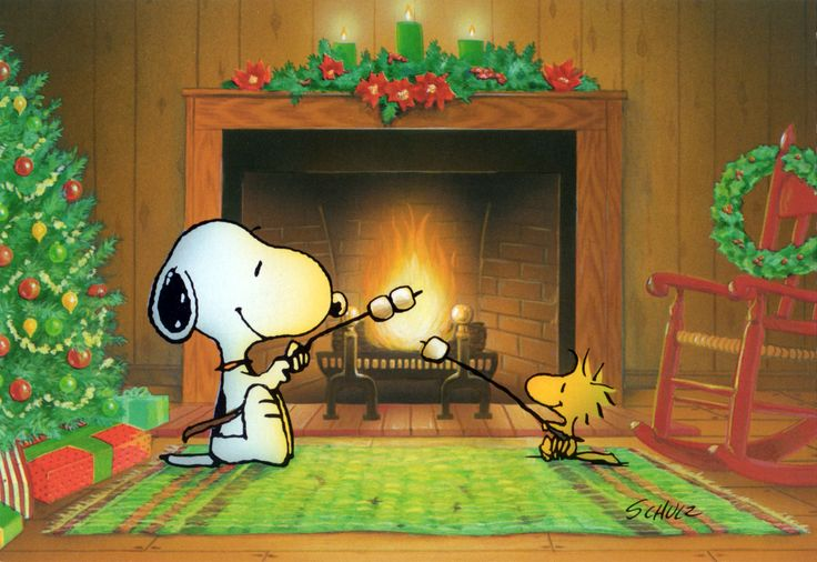 Snoopy and Woodstock roasting marshmallows by the fire.