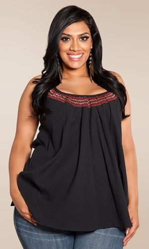 Plus Size Top Plus Size Fashion Plus Size Clothing at www.curvaliciousclothes.com Sizes 1X - 6X  A flowy, cotton gauze tank with embroidered accents.