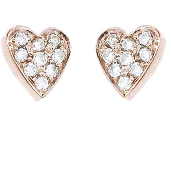 Jennifer Meyer Diamond Heart Studs - Rose Gold found on Polyvore