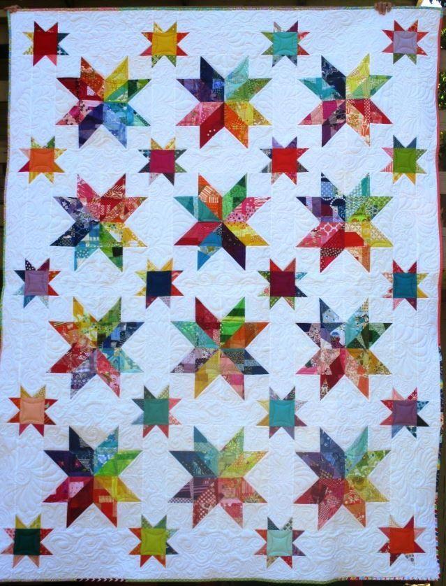 Scrappy Rainbow Star Quilt Block In 2020 Star Quilt Blocks
