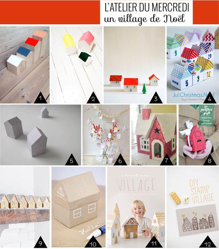 Un village de no l compos de petites maisons faire soi - Deco noel a faire avec les enfants ...