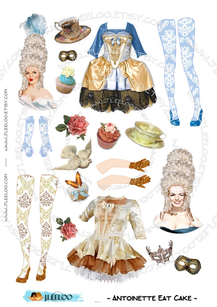 Digital sheets   ANTOINETTE EaT CAKE   paper doll digital sheets for journal page atc aceo scrapbooking  download png and jpeg files / PP178, via Etsy.