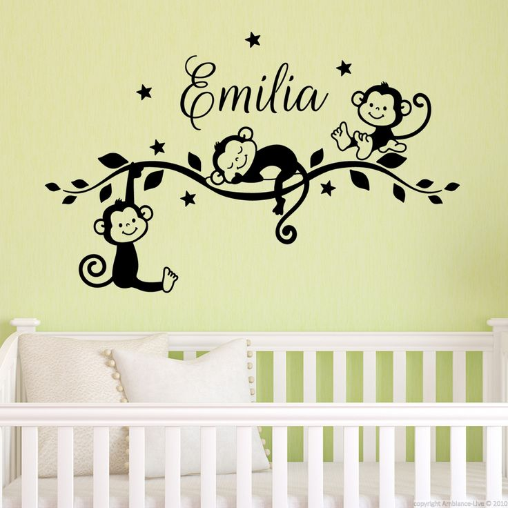 sticker pr nom personnalis singes jungle personalised stickers animal wall decals and wall. Black Bedroom Furniture Sets. Home Design Ideas
