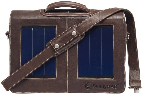 SunnyBAG Business Professional Brandy (brown) Leather - solar power messenger bag that charges your mobile devices while you go!