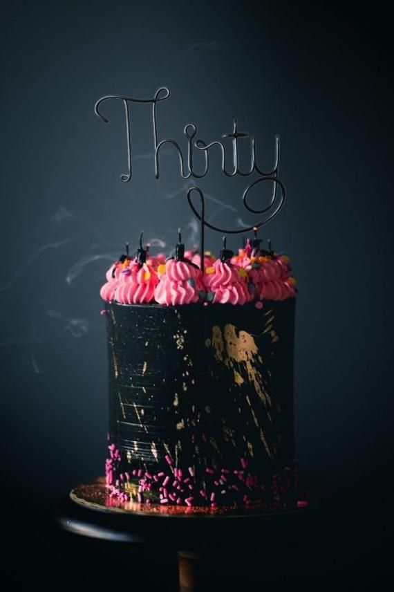 Dreißig Wire Cake Topper – Anzahl Cake Topper – Wire Cake Topper – Geburtstagskuchen …   – Products