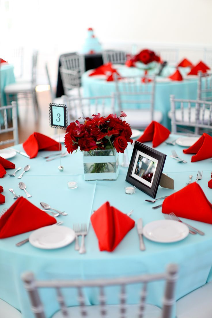 A gorgeous color combination perfect for a summer and winter wedding. View this Tiffany Blue and Red Wedding Inspiration Board on KV.