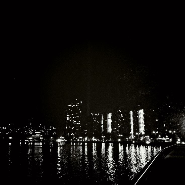 NYC, randalls island, wards island, buildings, view, night water, reflection, east river, black and white, © will rodenbough