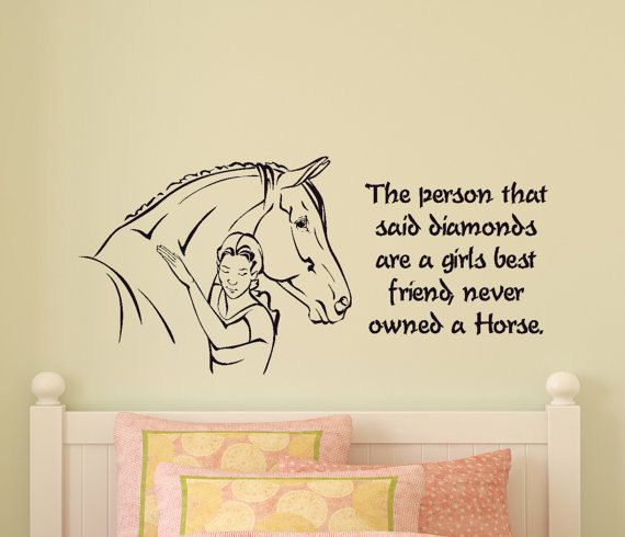 Girls Bedroom Horse Wall Decal Pony Quote Sticker Teen Room Western Wall Decor Wall Words College Dorm Room Childs Room 21 X 46 inches by 1Horsingaround on Etsy https://www.etsy.com/listing/245861284/girls-bedroom-horse-wall-decal-pony