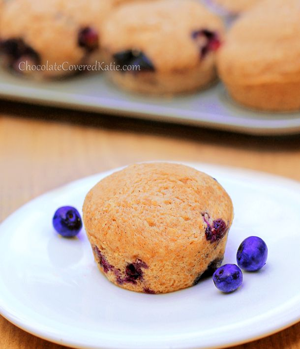 Bakery Style Blueberry Muffins – from @choccoveredkt - bursting with ripe, juicy blueberries, and healthy enough to eat for breakfast: http://chocolatecoveredkatie.com/2013/08/12/healthy-blueberry-muffins/