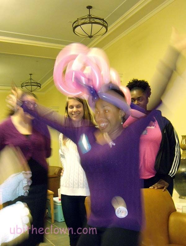 One of the organizers of the event was very happy with her hat.  UNC-CH American Cancer Society Breasticle Festival.