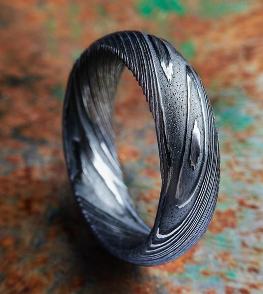 Driftwood Wood Grain Damascus Steel Ring - Carbon6