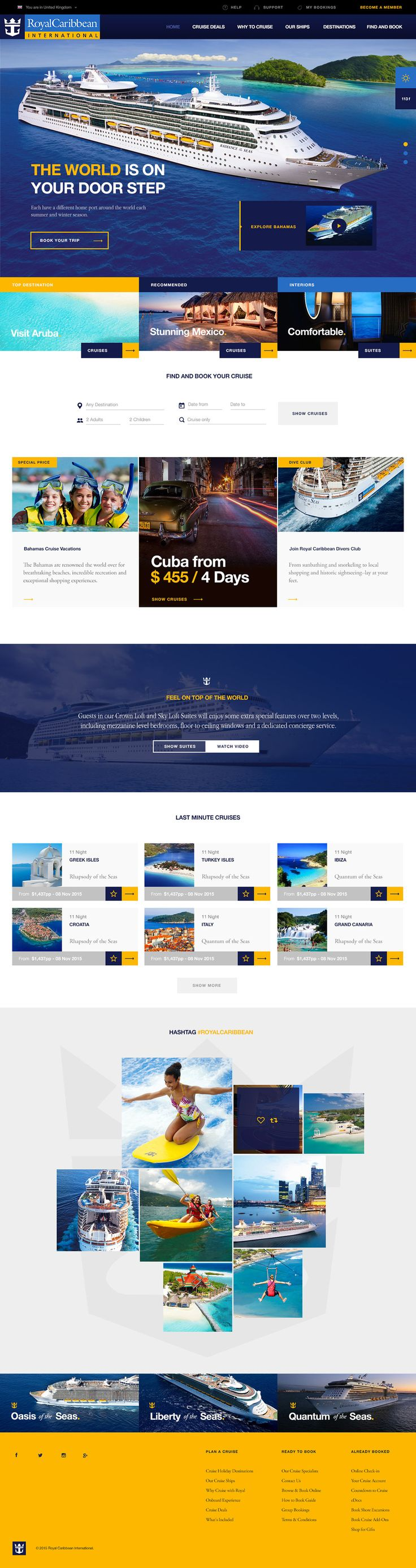 Royal Caribbean International web design 2015. Astounding design. Great colors and layout. So simple yet so appealing.