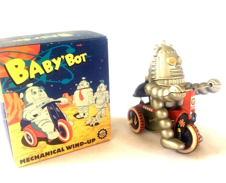 BABY BOT (Like ROBBIE the ROBOT) onTRIKE wBell TIN WINDUP  SCIFi in Box #JSTM