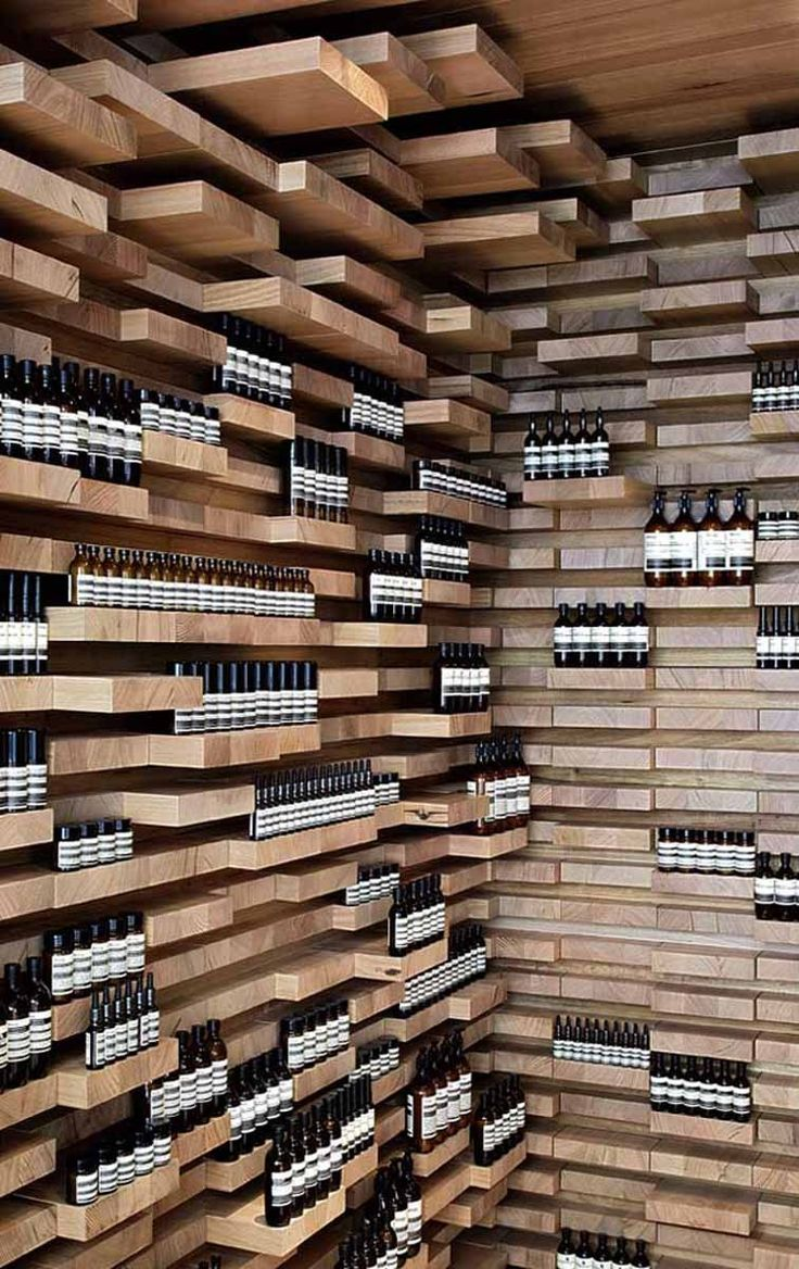Beautiful shop interior inspired by parquet  Aesop's store on rue Saint-Honoré, located in an eighteenth century building in Paris, is desig...