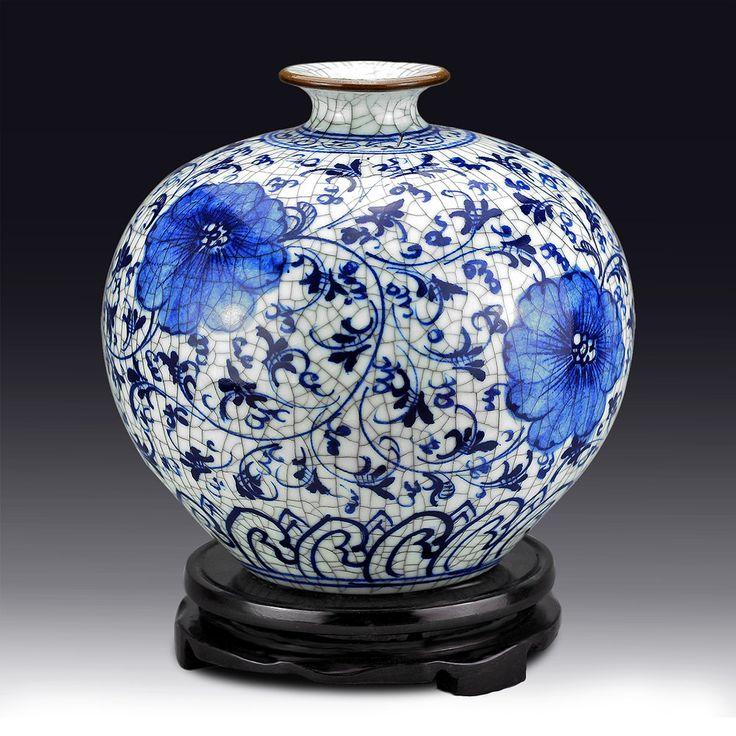 La cerámica de Jingdezhen chino antiguo botella granada guanyao decoración azul y blanco porcelana florero grande(China (Mainland))
