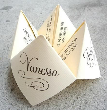 Give your wedding guests something fun to do, with this folded quiz. Set at each place setting at the wedding reception.