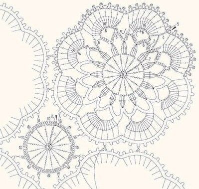 small and large doily flowers ..