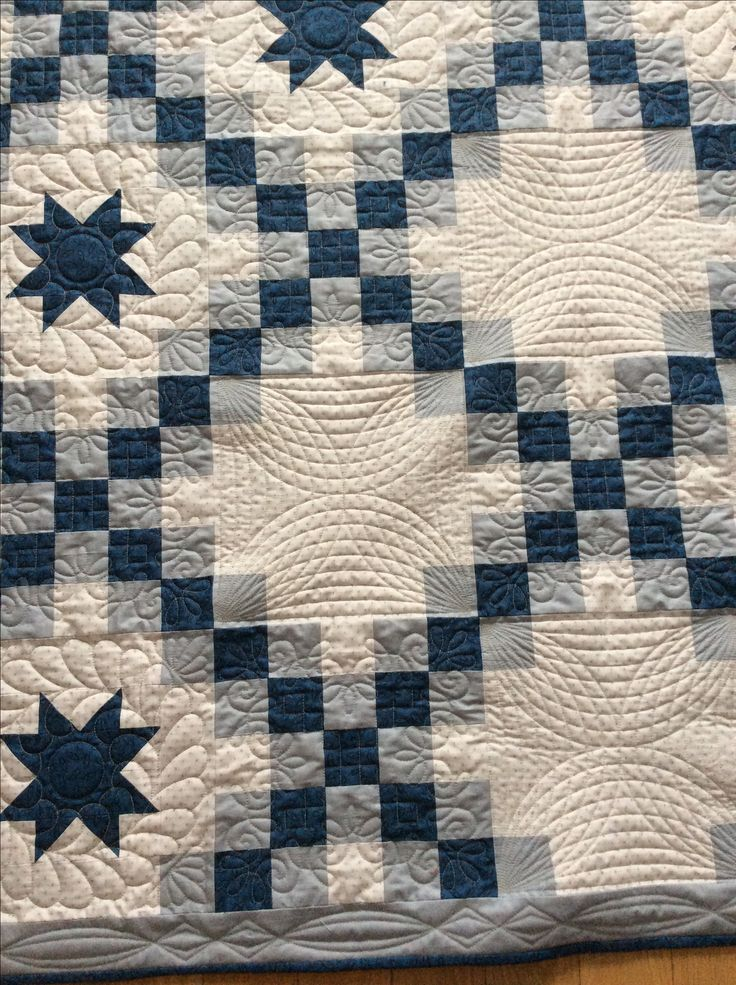 Irish Barn Quilt Patterns : Blue and grey double Irish chain quilt Close up of amazing quilting by Red Red Bobbin My ...