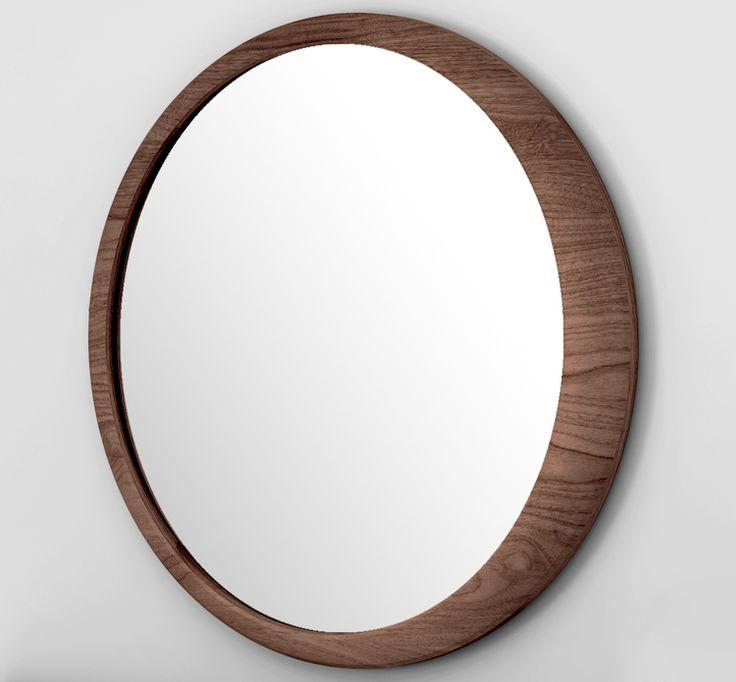 Elegant #Luna mirror in solid walnut from wewood