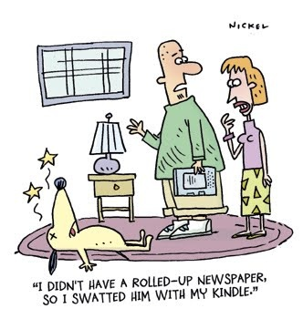 Substitute of a rolled-up newspaper [cartoon] | Ebook Friendly