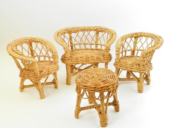 Miniature Wicker Doll Furniture - Chairs Loveseat Couch Table - Woven Furniture - 1970s - I had this whole set!