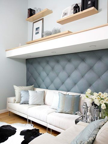 "Fashionable upholstered walls in Parisian salons inspired freelance fashion and interior designer Kerri Gutekunst and her husband, Brent, to create their own ""padded room."" After a vacation to the haute couture mecca, Kerri whipped up this luxury treatment for the den of their San Diego home."