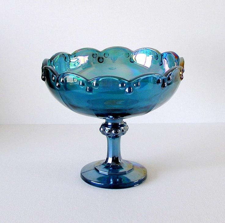 Vintage Blue Carnival Glass Pedestal Bowl Compote Teardrop