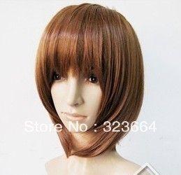 Горячая распродажа! Hirasawa юи / Suzumiya Haruhi короткие каштановые волосы косплей