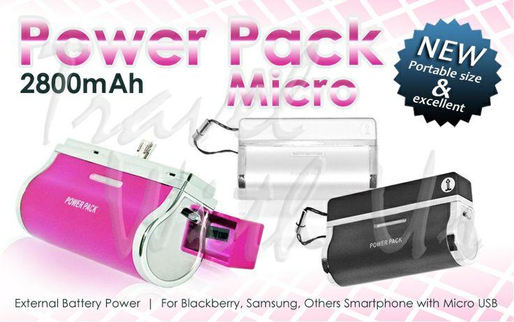 Power Pack Micro 2800mAh, Only Rp 170.000,- (not include shipping cost)  - Kapasitas 2800mAh - Design kecil dan praktis, serta mudah pemasangannya - Pengisian daya lebih cepat - Terdapat lampu indikator kapasitas powerbank