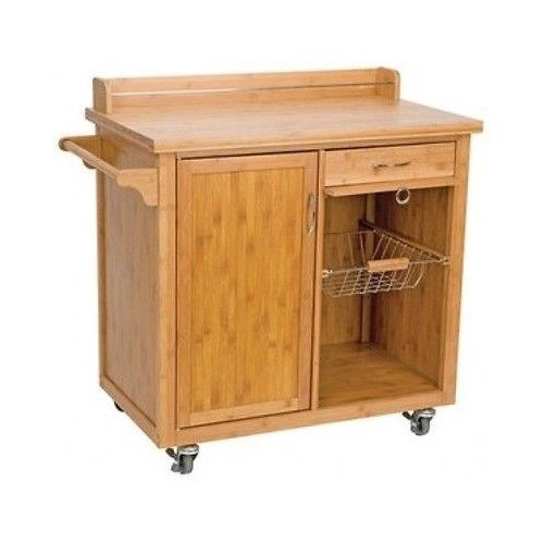 Wooden-Kitchen-Trolley-Cabinet-Bamboo-Rolling-Storage-Island-Portable-Drawer-New
