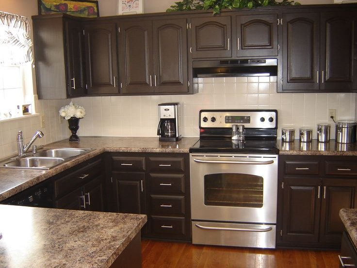 Kona rustoleum brown cabinets to match backsplash google for Normal kitchen design