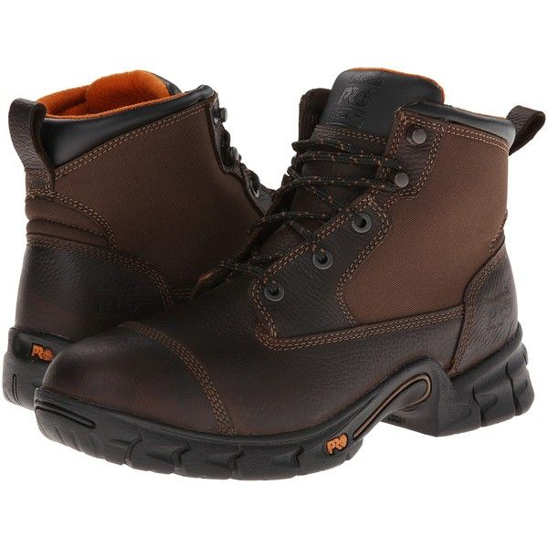 Timberland PRO Excave 6 Steel Toe (Brown) Men's Work Boots ($83) ❤ liked on Polyvore featuring men's fashion, men's shoes, brown, mens steel toe shoes, mens shoes, mens lace up shoes, mens platform shoes and mens safety toe shoes