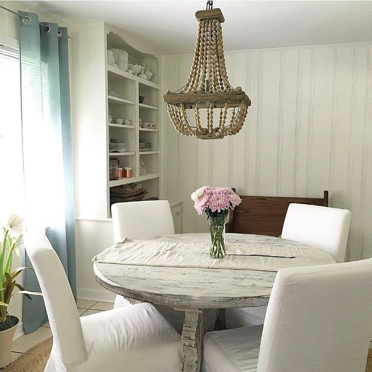 Love this tranquil #diningroom, & love seeing our Beaded #Chandelier above it all! Thx for sharing!  #lighting