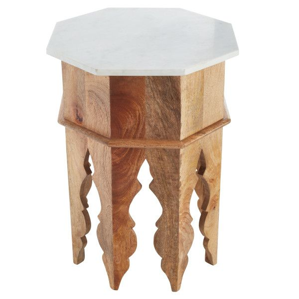 Marble and Wood Moroccan Side Table | Wisteria