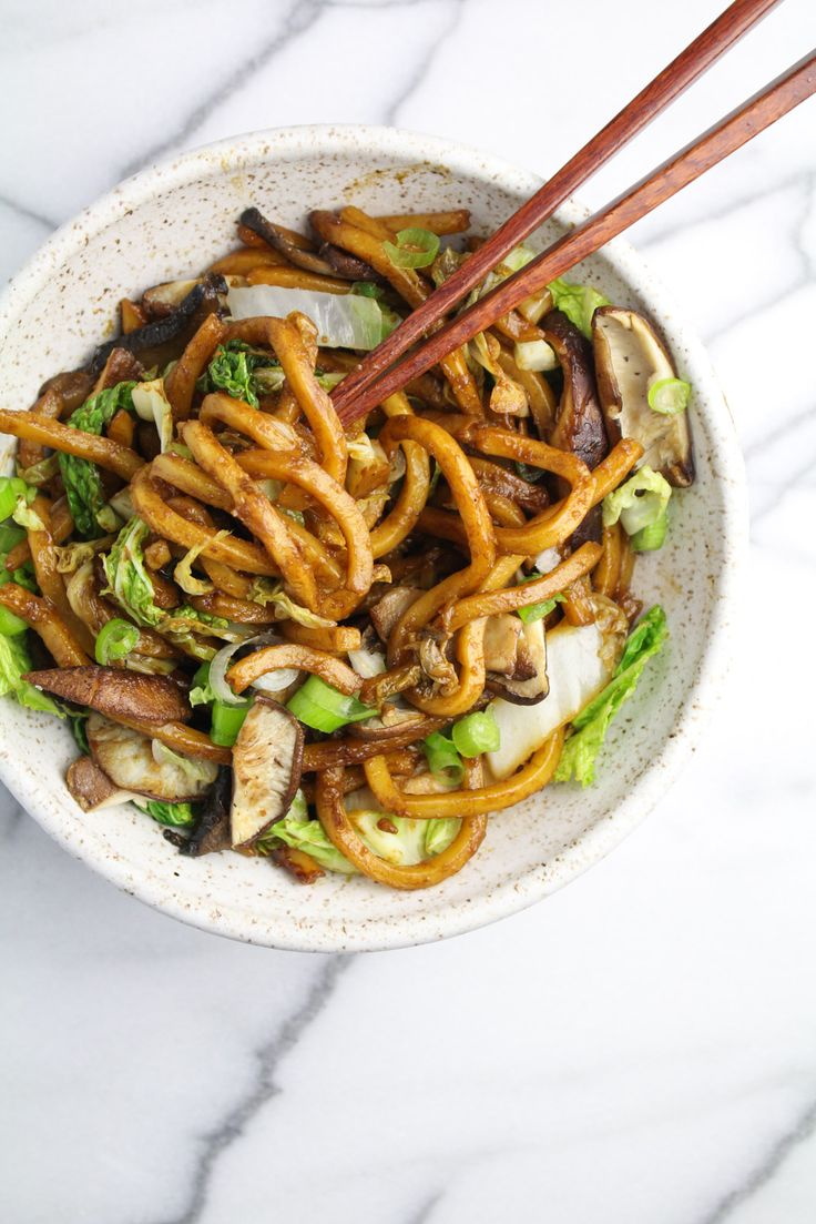 Shanghai-Style Noodles with Mushrooms and Cabbage. These thick, eggy noodles are covered in an addictive, slurpable sweet-salty sauce and stir-fried.