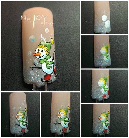 Snowman nail art.
